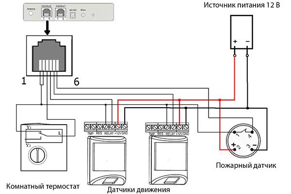 Схема подключения проводных сигнализаций (пример на 4 датчика)