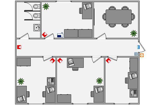 Пример схемы офиса для установки сигнализации