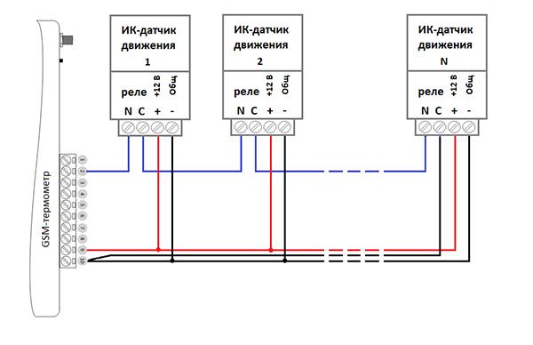 Схема подключения датчиков движения к сигнализации