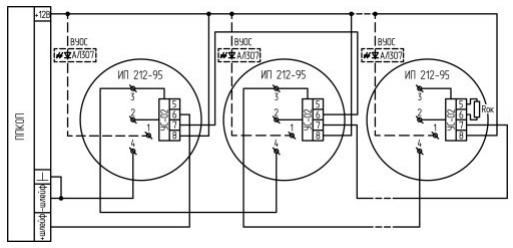 Схема подключения охранных датчиков к панели Nord
