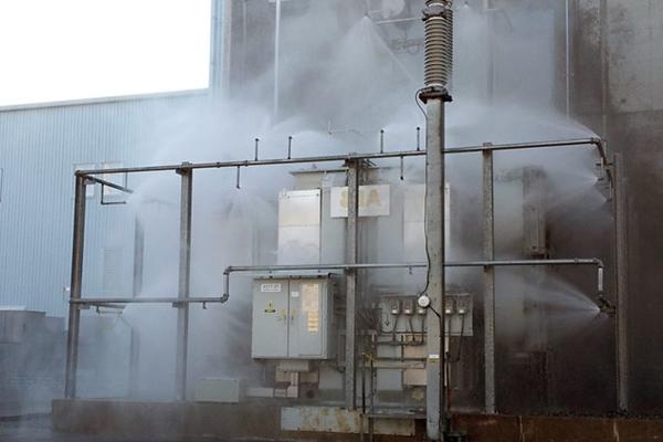 Дренчерная система пожаротушения в работе