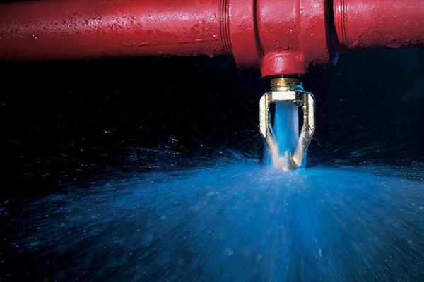 Спринклерная система пожаротушения в работе