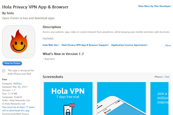 Hola VPN for IOS