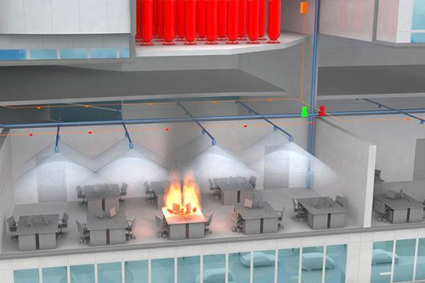 Пример работы пожаротушения тонкораспыленной водой