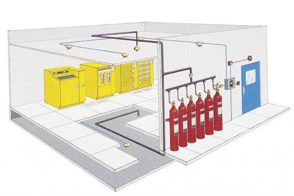 Пример расположения газового пожаротушения