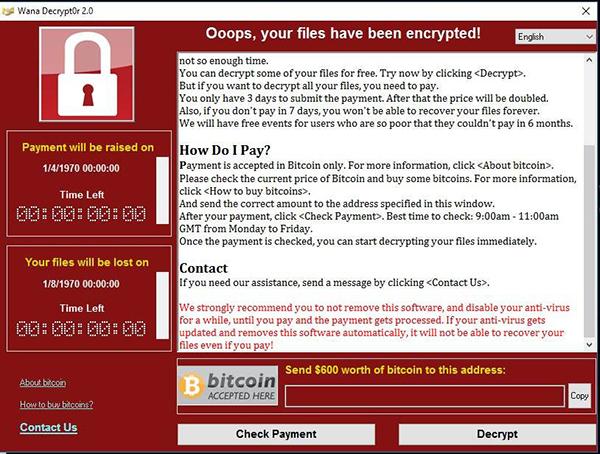 Программа реализованная посредством вируса Wanna Cry