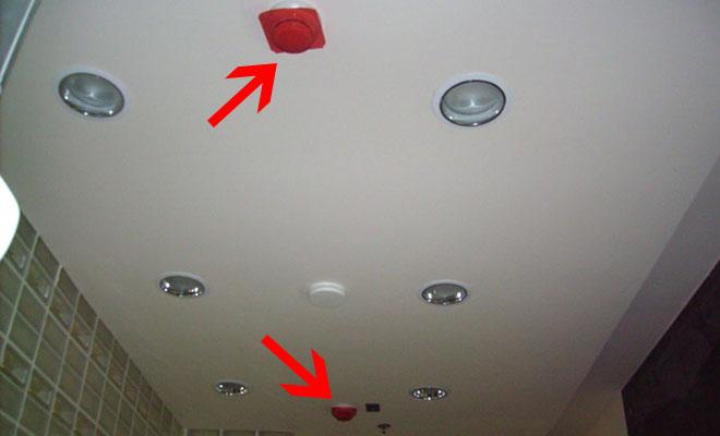 Размещение датчиков пожарной сигнализации за подвесным потолком