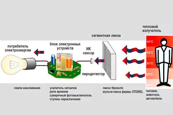 Схема работы инфракрасного датчика движения