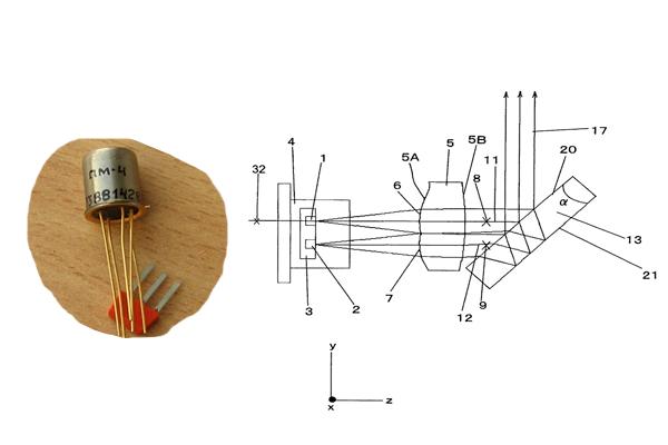Элементы звукового датчика движения - пироэлектрический приемник и фасеточная линза Френеля