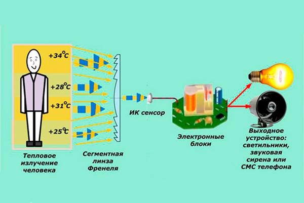Схема работы звукового датчика движения