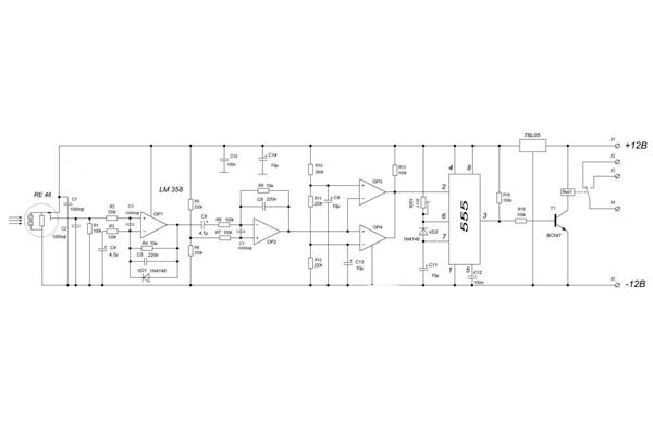 Электронная принципиальная схема ИК датчика движения