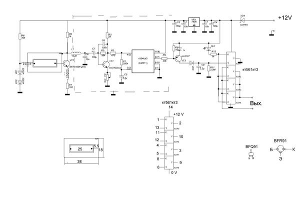 Электронная схема микроволнового датчика движения