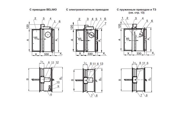 Схема огнезадерживающего клапана КЛОП