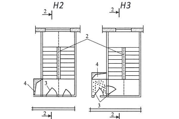 Схемы незадымляемых лестничных клеток H2 и H3