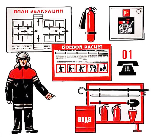Первичные средства борьбы с пожаром на предприятии