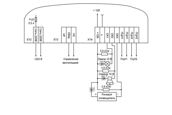 Электронная схема прибора приемно-контрольного «Кварц»
