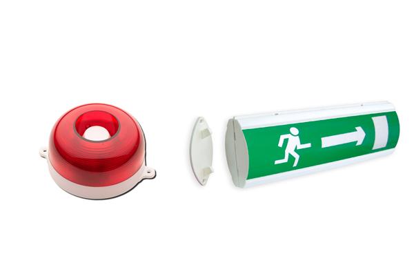 Сирена пожарной сигнализации и указатель для обеспечения пожарной безопасности на ПОП