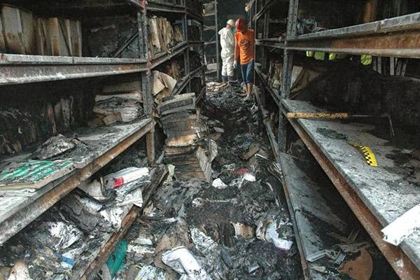 Последствия возгорания в архиве