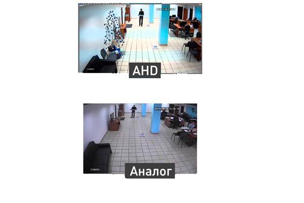 Отличие картинки изображения аналоговой камеры и AHD
