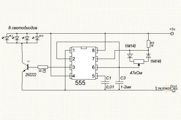 Электронная схема устройства детектора видеокамер