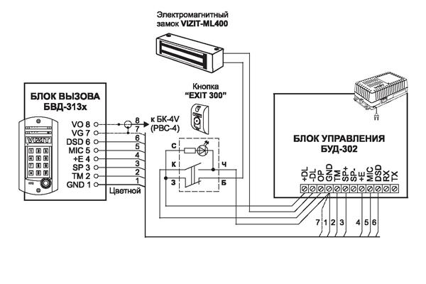 Схема подключения домофона Визит