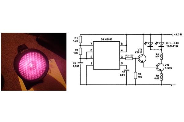 Электронная схема ИК-подсветки камеры видеонаблюдения для изготовления своими руками