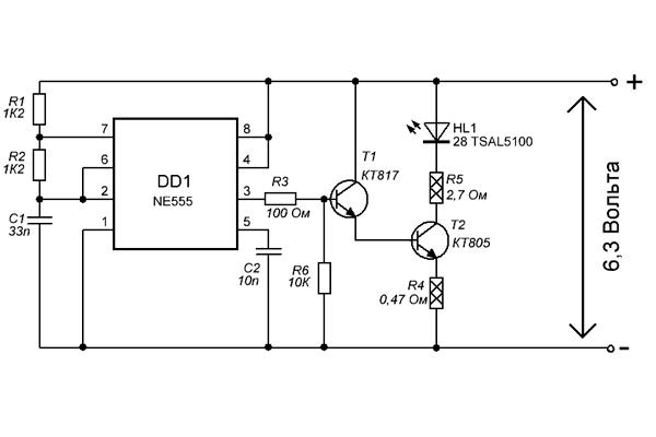 Электронная схема ИК-прожектора для видеонаблюдения на интегральном таймере Ne555