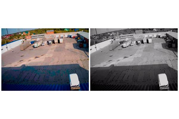 Сравнение изображения черно-белой и цветной камеры видеонаблюдения