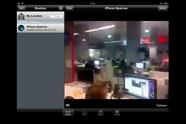 Приложение Presence для видеонаблюдения через телефон под управлением iOS