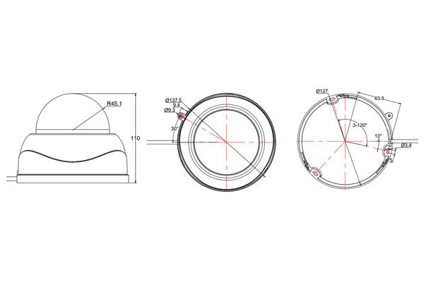Размеры PTZ камеры видеонаблюдения