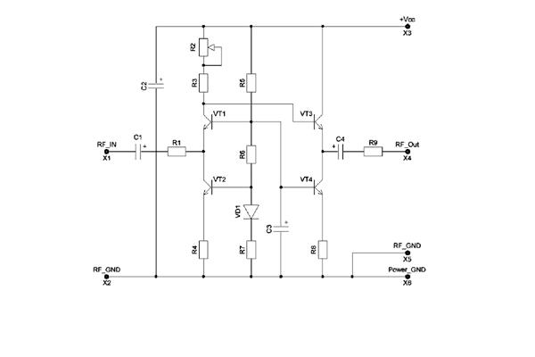 Электронная схема усилителя видеосигнала