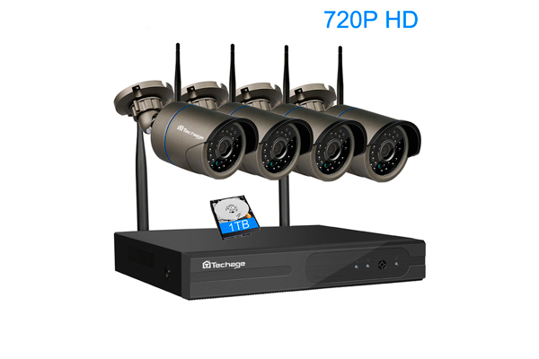 Комплект системы видеонаблюдения Techage Plug and Play 4CH Wireless NVR Kit P2P 720P HD