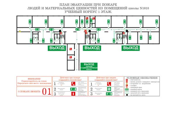 План эвакуации при пожаре для школы