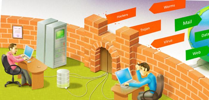 Картинка показывающая работу межсетевого экрана