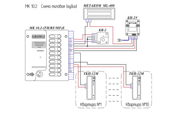 Схема подключения домофона Метаком