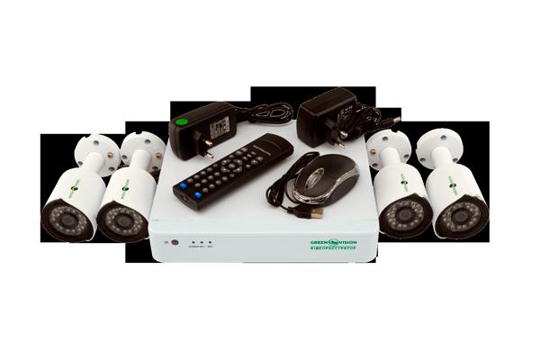 Видеонаблюдение для частного дома Green Vision GV-K-G02/04 720Р