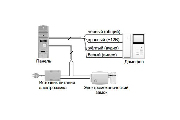 Схема подключения домофона с электрозамком