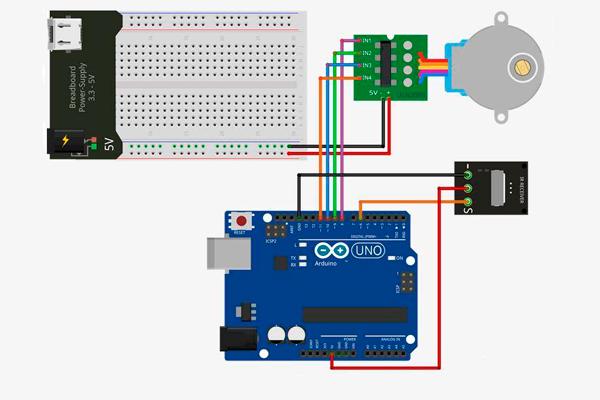 Электронная схема работы автоматических жалюзи на Arduino