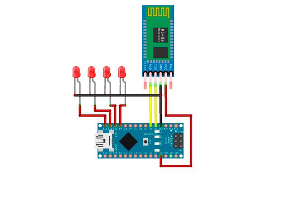 Электронная схема голосового управления освещением с применением Arduino b Bluetooth
