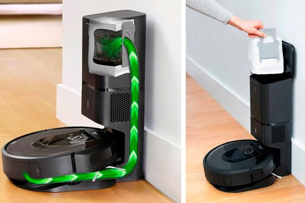 Процесс автоматического самоочищения умного пылесоса iRobot Roomba i7