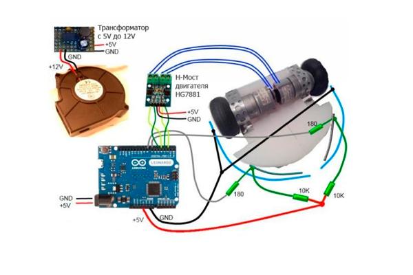 Электронная схема роботизированного пылесоса своими руками
