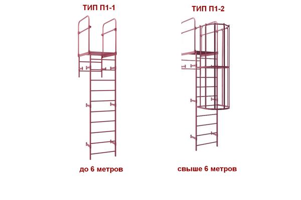 Вертикальные пожарные лестницы П-1 и П-1-2