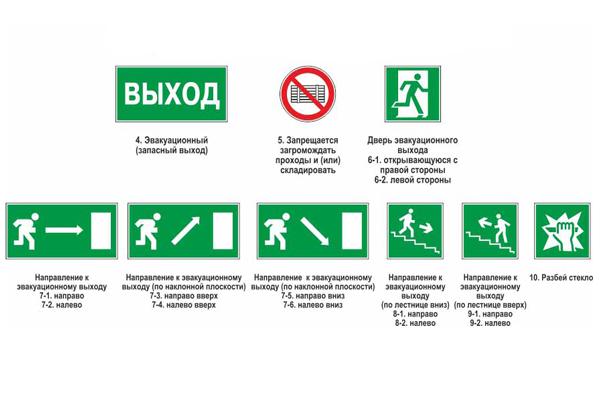 Знаки о пожарных выходах