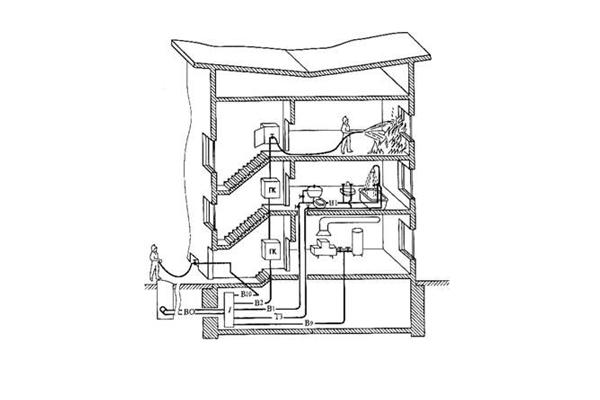 Процесс тушения пожара с помощью внутреннего противопожарного водопровода