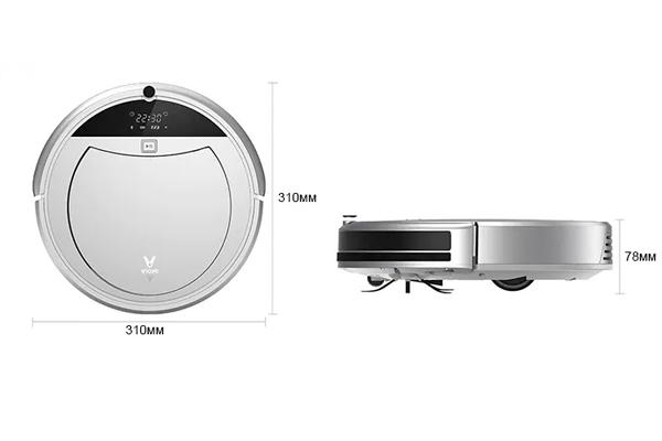 Габаритные размеры робота-пылесоса Xiaomi Viomi Internet Robot Vacuum Cleaner VXRS01