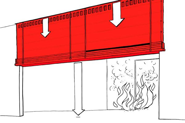 Приостановление распространение огня с помощью противопожарной шторы