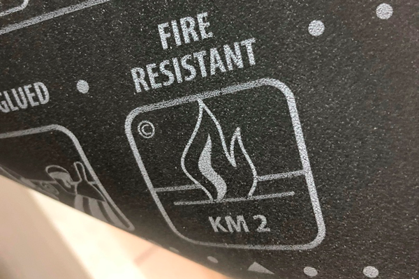 Обозначение класса пожарной безопасности на линолеуме