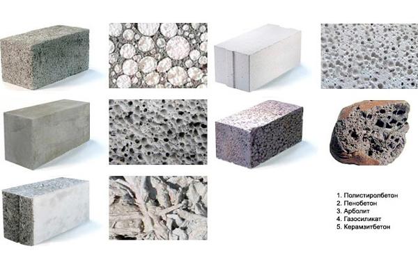 Разновидности легкого бетона