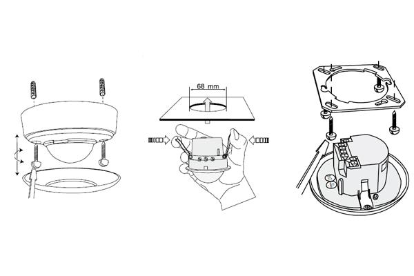 Схема монтажа потолочного датчика движения