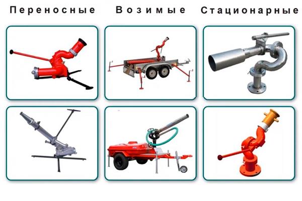 Классификация лафетных пожарных стволов